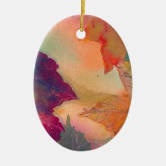 Herbstlaub entlang der Küste in Neu-England Ovales Keramik Ornament