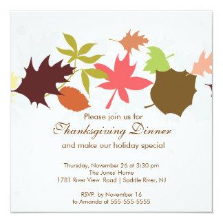 Herbstlaub-Erntedank-Abendessen-Party Quadratische 13,3 Cm Einladungskarte