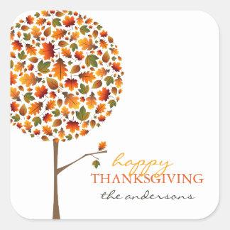 Herbstlaub-Herbst-Pop-Baum-Erntedank-Aufkleber Quadratischer Aufkleber