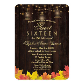 Herbstlaub-hölzerne alte Laternen 16. GEBURTSTAG 11,4 X 15,9 Cm Einladungskarte