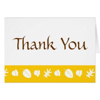 Herbstlaub im Gelb dankt Ihnen zu kardieren Karte