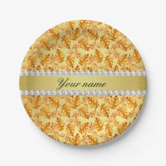 Herbstlaub-Imitat-Goldfolie Bling Diamanten Pappteller