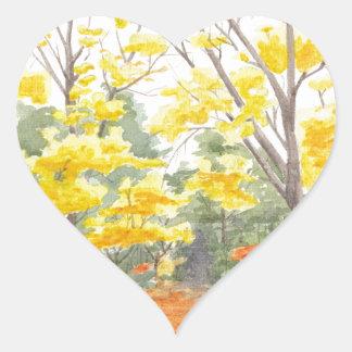 Herbstlaub in Adlershof Herz-Aufkleber