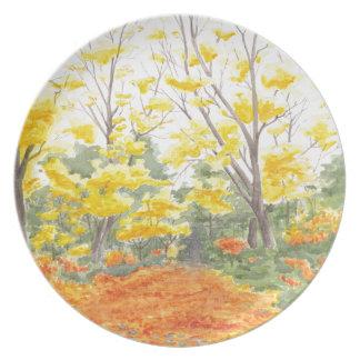 Herbstlaub in Adlershof Melaminteller