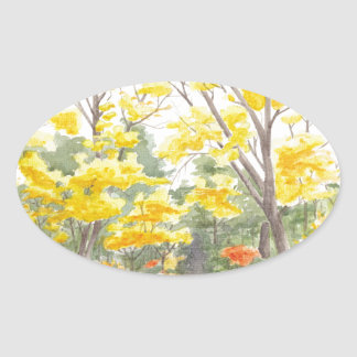 Herbstlaub in Adlershof Ovaler Aufkleber