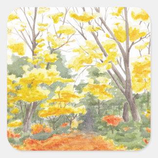 Herbstlaub in Adlershof Quadratischer Aufkleber