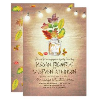 Herbstlaub-Maurer-Glas-rustikales Verlobungs-Party 12,7 X 17,8 Cm Einladungskarte