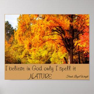 Herbstlaub mit Naturzitat Poster