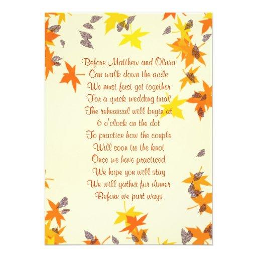 Herbstlaub-Proben-Abendessen-Gedicht-Einladung