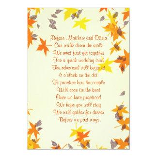 Herbstlaub-Proben-Abendessen-Gedicht-Einladung 11,4 X 15,9 Cm Einladungskarte