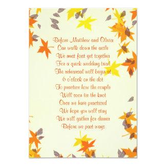 Herbstlaub-Proben-Abendessen-Gedicht-Einladung 4x6 11,4 X 15,9 Cm Einladungskarte