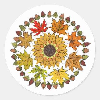 Herbstlaub und Eichel-runder Aufkleber