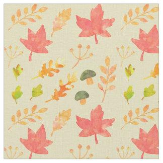 Herbstlaub und Pilze Stoff