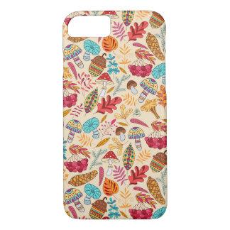 Herbstmuster mit Blätter, Pilze, Eicheln iPhone 8/7 Hülle