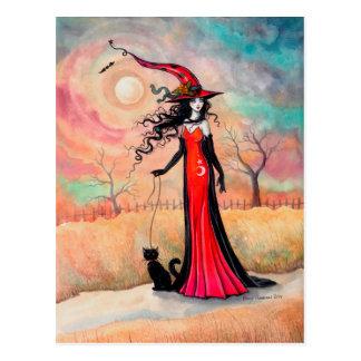 Herbststroll-Halloween-Hexe-und schwarze Postkarten