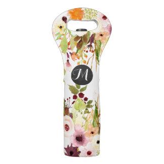 Herbstwatercolor-Blumen-Monogramm Weintasche