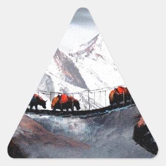 Herde der Gebirgsyak Himalaja Dreieckiger Aufkleber