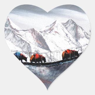 Herde der Gebirgsyak Himalaja Herz-Aufkleber