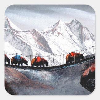 Herde der Gebirgsyak Himalaja Quadratischer Aufkleber