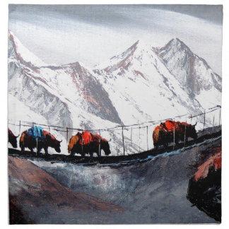 Herde der Gebirgsyak Himalaja Serviette