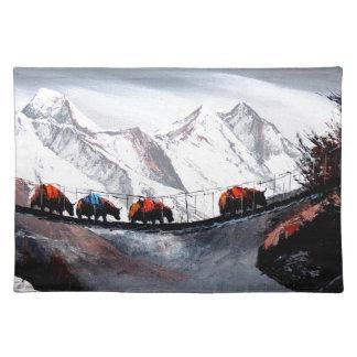Herde der Gebirgsyak Himalaja Tischset