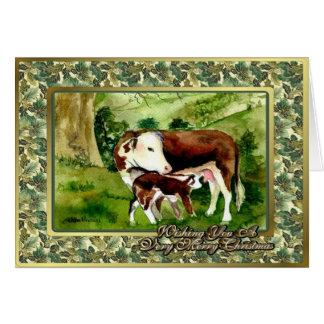 Hereford Kuh-und Kalb-leere Weihnachtskarte Karte