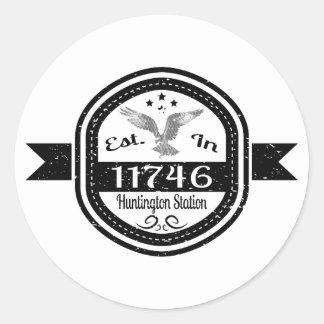 Hergestellt 11746 Huntington in der Station Runder Aufkleber