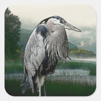 Heron See Quadratischer Aufkleber