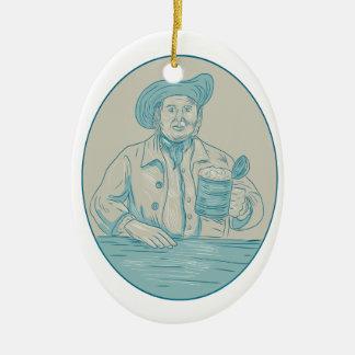 Herr-Bier-Trinker-Krug-ovales Zeichnen Keramik Ornament