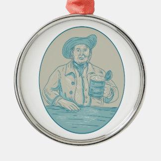Herr-Bier-Trinker-Krug-ovales Zeichnen Silbernes Ornament