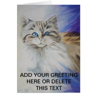Herr blaue Augen, Aquarellkatzenmalerei Karte