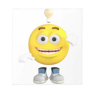 Herr Brainy das dieses Emoji Lieben zu denken Notizblock