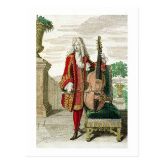 Herr, der das Cello spielt, erschienene c.1688-90 Postkarte