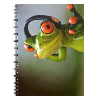 Herr Frog mit Kopfhörern Spiral Notizblock