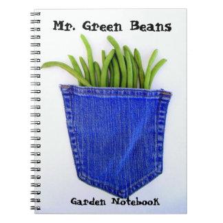 Herr grüne Bohnen-Garten-Notizbuch Spiral Notizblock
