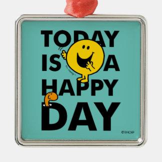 Herr Happy   ist heute ein glücklicher Tag Silbernes Ornament