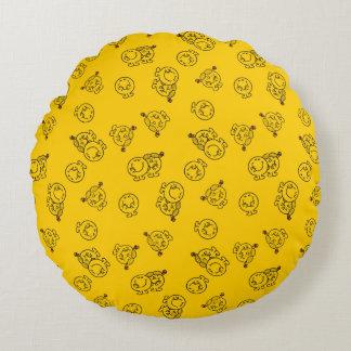 Herr Happy u. kleines gelbes Muster Rundes Kissen