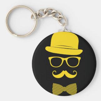 Herr-Hipster Standard Runder Schlüsselanhänger