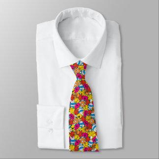 Herr Men u. kleine helle lächelnde Gesichter Krawatte