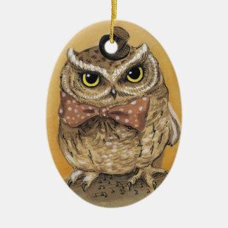 Herr Owl Dapper Gent Keramik Ornament