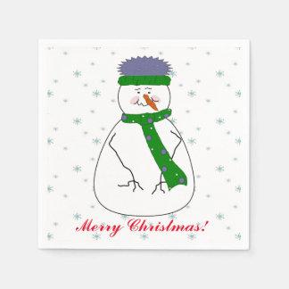 Herr Snowman, schneiend, Schnee blättert Serviette