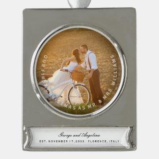 Herr-u. Frau-First Christmas Wedding Foto Banner-Ornament Silber
