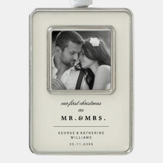 Herr-u. Frau-First Christmas Wedding Foto Rahmen-Ornament Silber