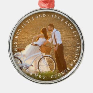 Herr-u. Frau-First Christmas Wedding Foto Silbernes Ornament