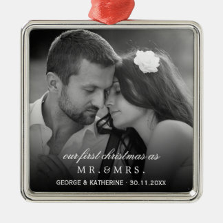 Herr-u. Frau-First Christmas Wedding Foto Silbernes Ornament