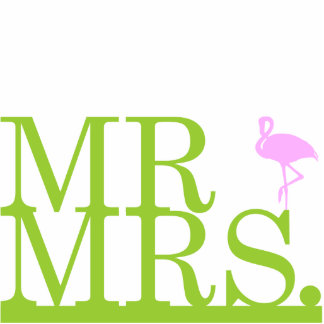 Herr u. Frau Flamingo Cake Topper Freistehende Fotoskulptur