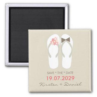 Herr-u. Frau-Flip Flops Wedding Save the Date Quadratischer Magnet