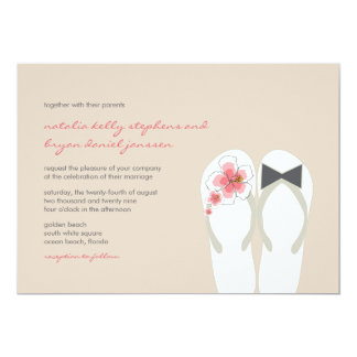 Herr-u. Frau-Hibiscus Flip Flops Strand-Hochzeit 12,7 X 17,8 Cm Einladungskarte