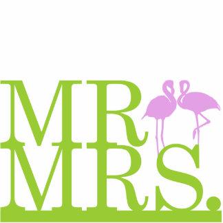 Herr u. Frau Lime u. Lavendel-Flamingo-Kuchen-Deck Freistehende Fotoskulptur