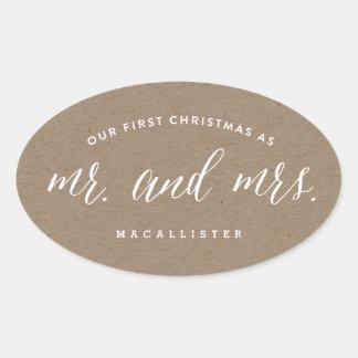 Herr-u. Frau-Married First Christmas Holiday Ovaler Aufkleber